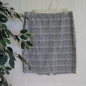 J.Crew black and white polka dot pencil skirt 10